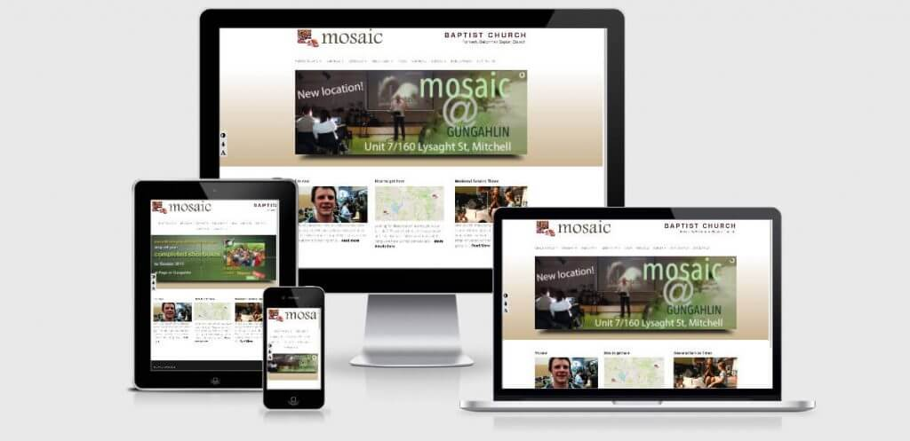 Image of the Mosaic Baptist Church Website Homepage at the Your Web Presence Website