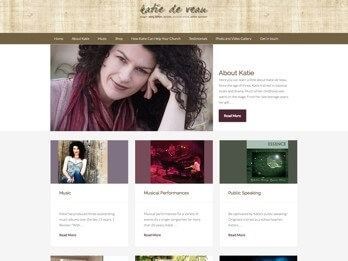 Image of the Katie deVeau Website Homepage at the Your Web Presence Website