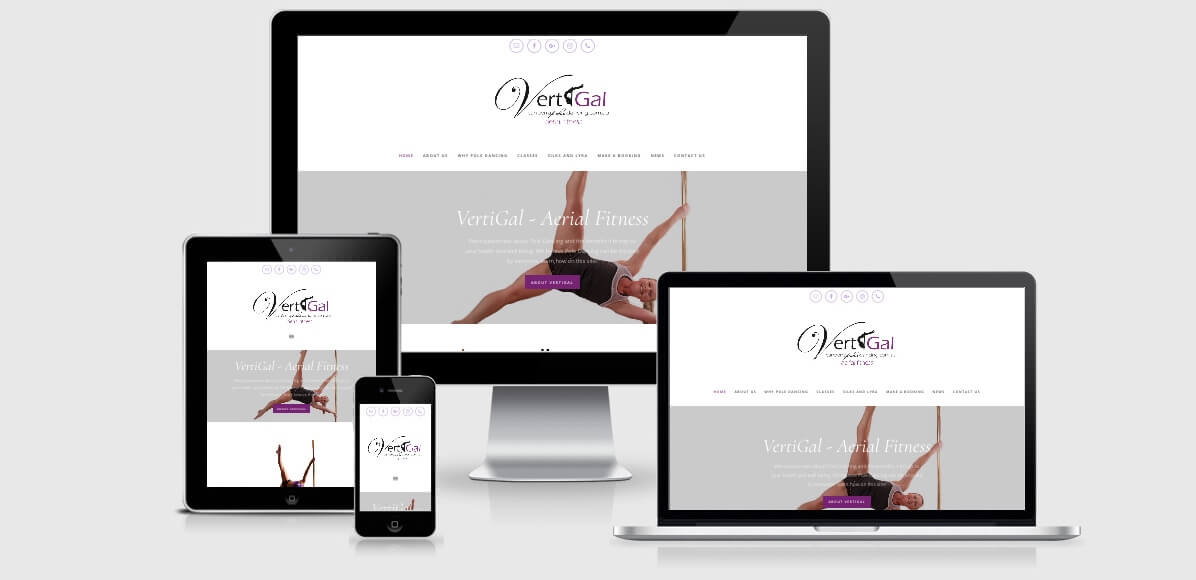 Image of the VertiGal Aerial Fitness Website