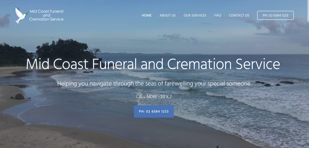 Image of the Mid Coast Funerals Website Homepage