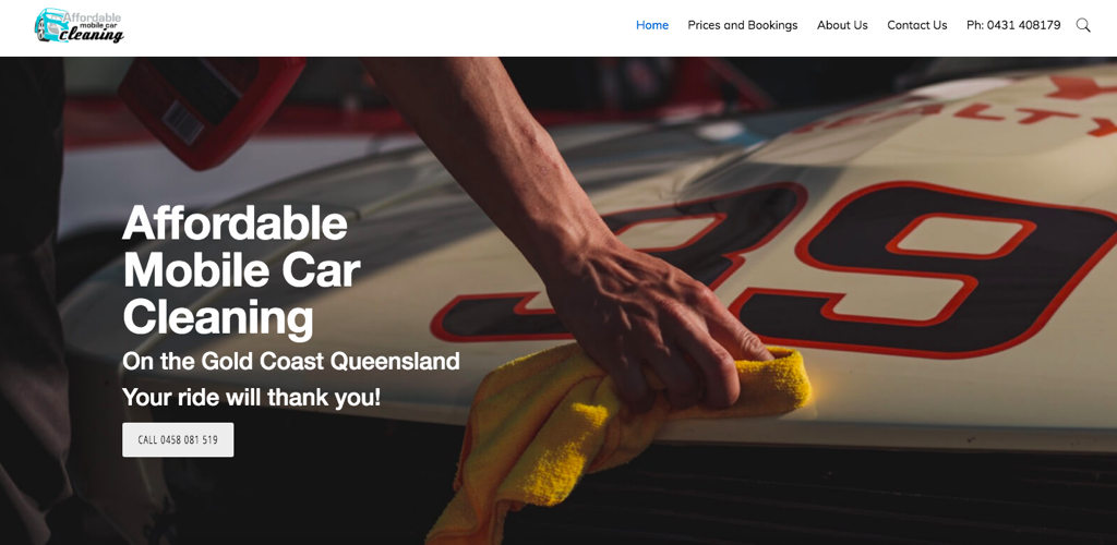 Image of the Affordable Mobile Car Cleaning website