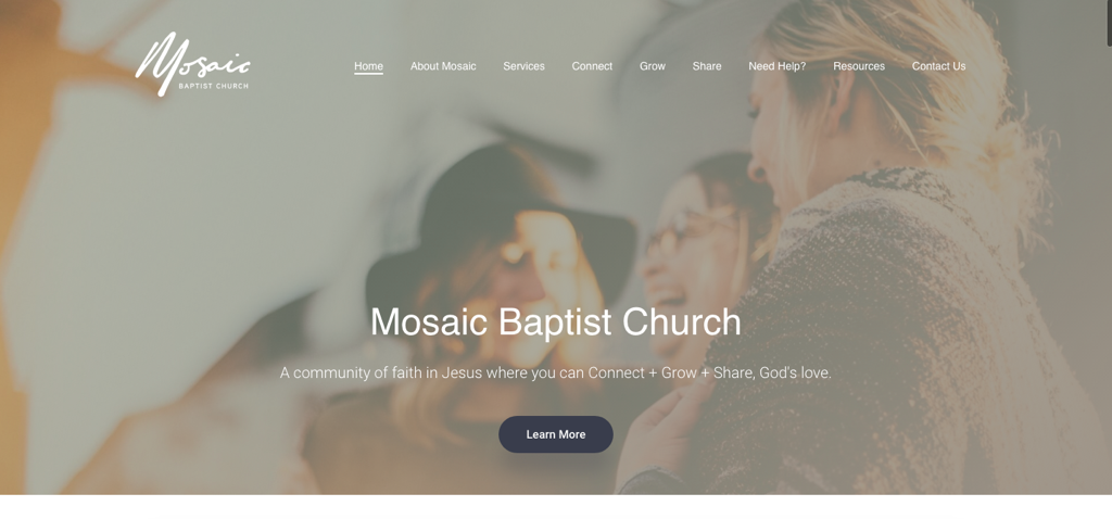 Image of the Mosaic Baptist Church Redeveloped website