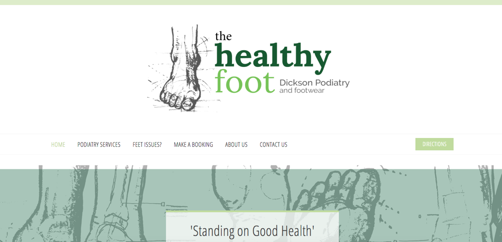 Image of The Healthy Foot Dickson Podiatry and Footwear website