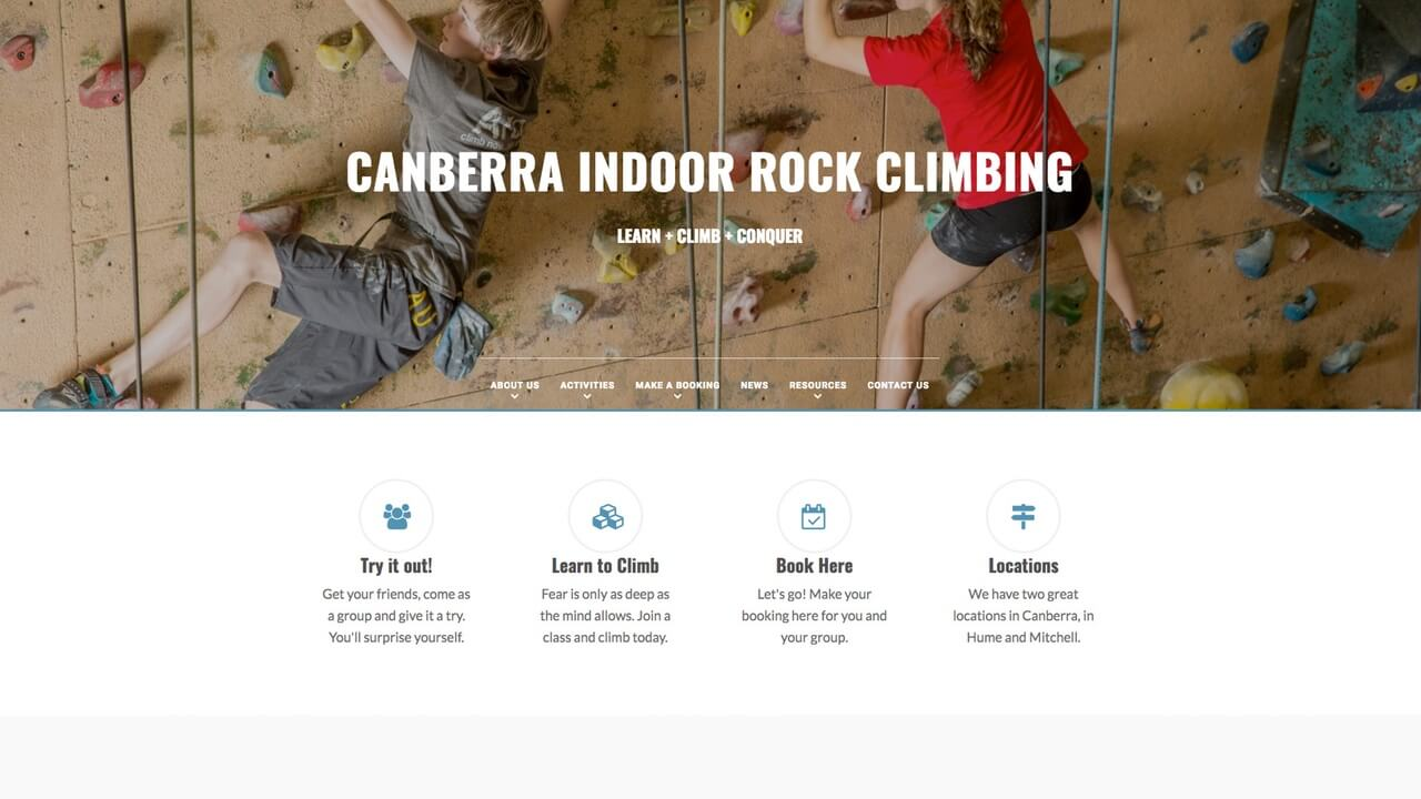 Image for the Canberra Indoor Rock Climbing Website