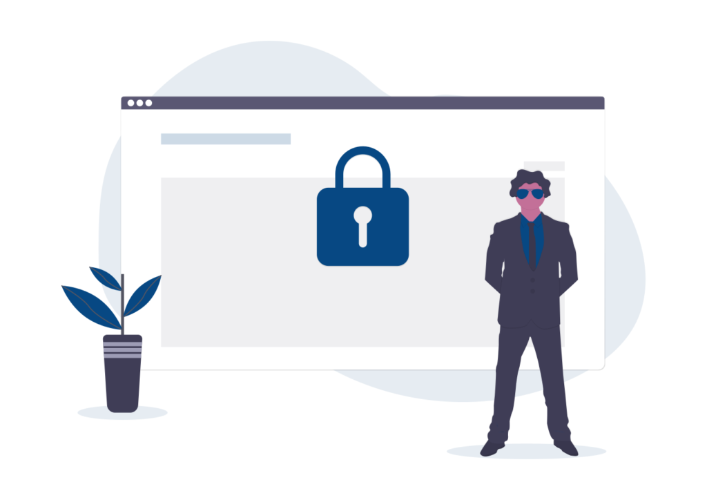 Asecurity guard standing in front of an open internet browser with a lock in front of it.