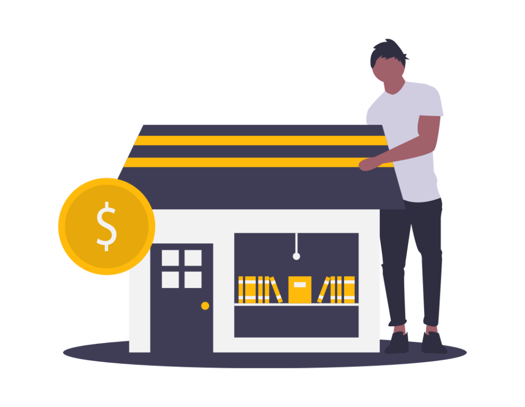 Graphic of a business shop and a person