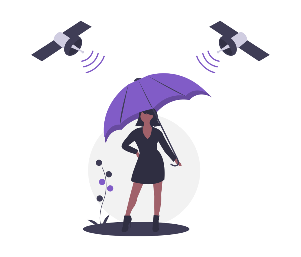 Person under an umbrella that is protecting from 2 satellites above